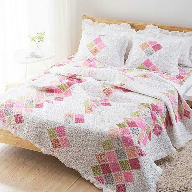 Bộ chăn mền Hà Quốc mềm mại Dorothy màu hồng