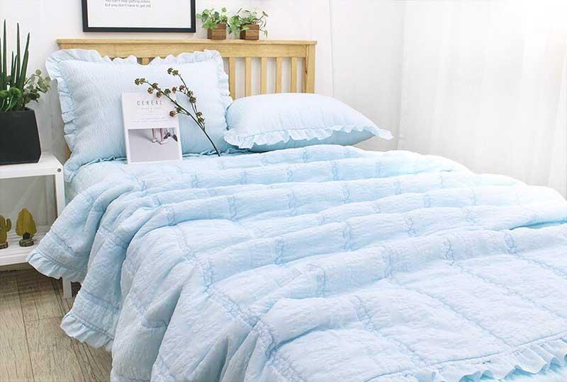 Bộ chăn mền cao cấp thuê hoa Ravina màu xanh biển