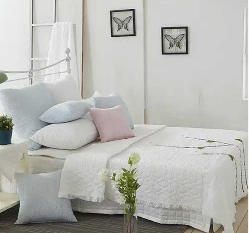 Bộ chăn mền thêu hoa thủ công Susanna màu trắng